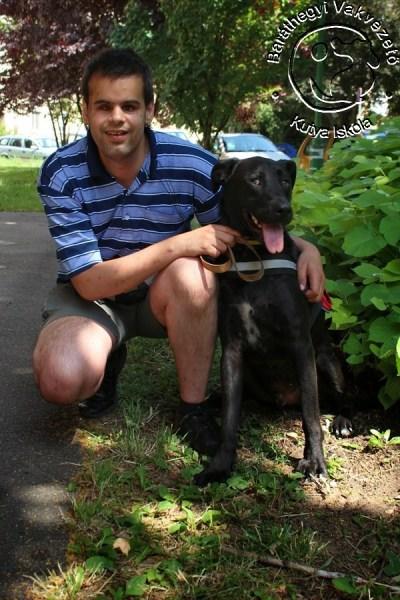 Dávid Kőrösmezey  and Miksa the guide dog