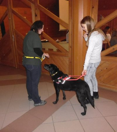 In the picture is a girl, holding on to the harness of a black labrador. They have just arrived back from their round. The trainer lady is standing in front of Dió, the guide dog.