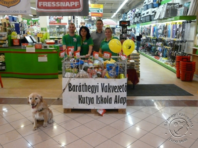 behind which in the backgrounds we can see our Fressnapf friends from Miskolc, and in the foreground a cute golden retriever. Lots of gifts are gathering in the basket.