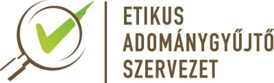 On the picture there's a text which reads: Etikus Adománygyűjtő szervezet (Ethical fundraising organization). Beside the text there's a viewer in fornt of a green tick