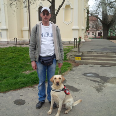 In the picture a man is standing in the street and his labrador is sitting next to his legs.