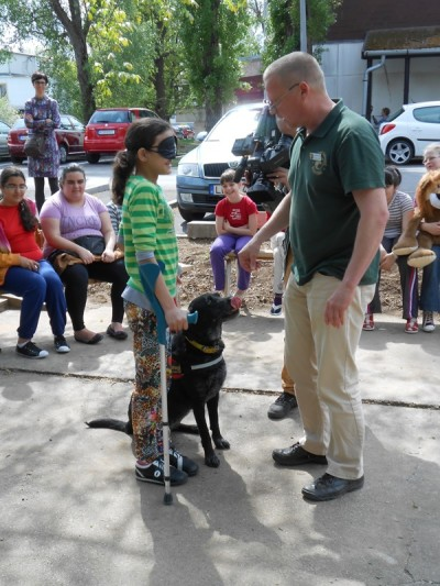 In the picture there is a young girl standing with a crutch in one hand and a black Labrador in harness sitting at the other. In front of them there is the trainer.