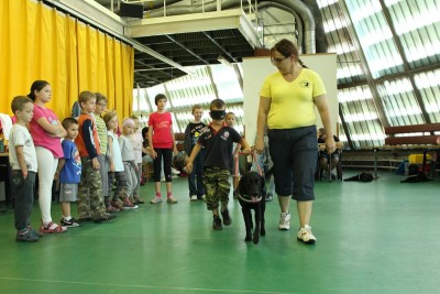 In the picture a black labrador is leading a little boy whose eyes are covered. A lady is holding the leash of the guide dog.