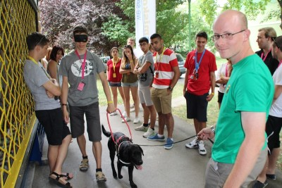 A black Labrador in harness is leading a blindfolded boy in the picture. The others are standing around them.