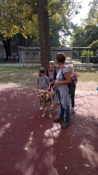 In the picture, a blindfolded girl has just started to walk with a yellow Labrador, who is guiding her. Behind the girl, there are two children waiting. The trainer is holding the dog's leash.