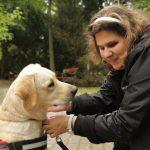 Egy szőke hölgy egy parkban lehajol a vajszínű vakvezető labrador kutyájához, és megigazítja a nyakörvét.