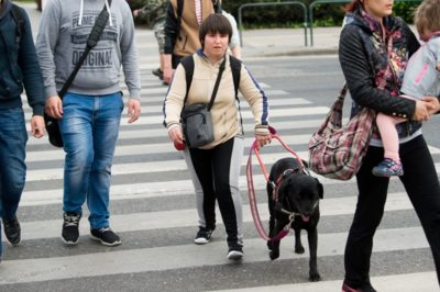 In the picture Barbara is just going over a pedestrian crossing with her guide dog Demi, who is a black Labrador